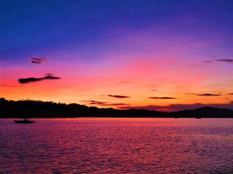 Philippines Port Barton coucher de soleil