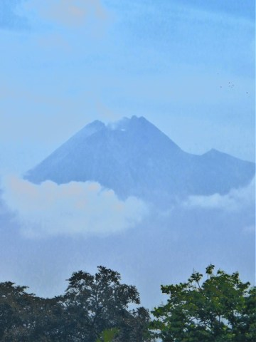 Java temple Prambanan volcans