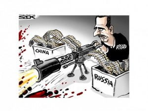 assad firing a machine gun with shells from china and russia