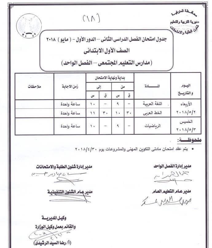 جدول امتحانات الصف الأول الابتدائي اخر العام 2018 محافظة المنوفية