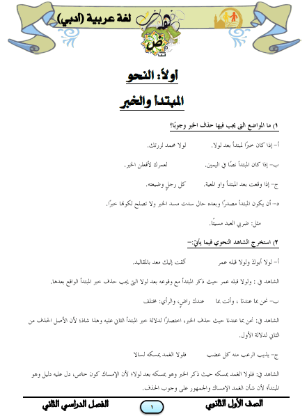 المراجعة النهائية في اللغة العربية أدبي للصف الأول الثانوى الترم الثاني