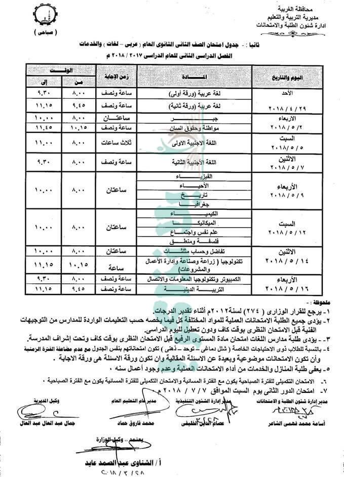جدول امتحانات الصف الثاني الثانوي 2018 الترم الثاني محافظة الغربية