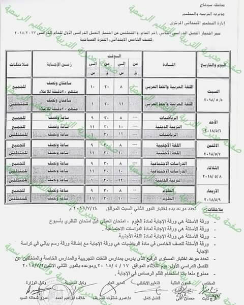 جدول امتحانات الصف الخامس الابتدائي 2018 الترم الثاني محافظة سوهاج