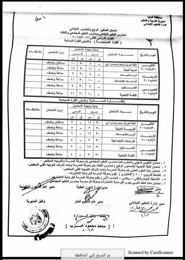 جدول امتحانات الصف الرابع والخامس الابتدائي 2018 الترم الثاني محافظة المنيا