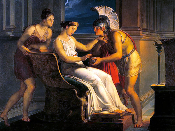 Ariadne Giving Theseus a Ball of String to Find His Way Out of the Maze - 19th century painting by Pelagio Palagi