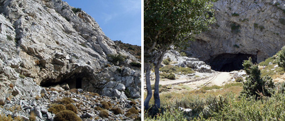 Two reputed shelters of the infant Zeus - Zas Cave on Mount Zas on the island of Naxos and Ideon Cave on Mount Ida on the island of Crete.