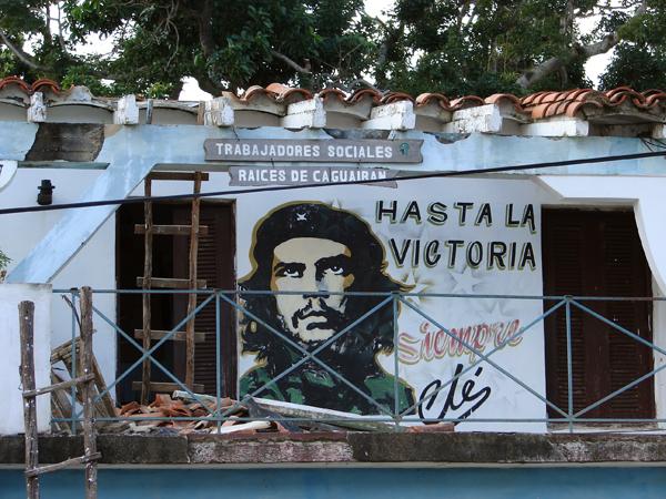 Revolutionary hero Che Guevara's face is seen everywhere in Cuba.