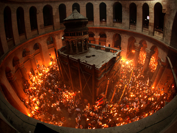 Holy Fire ceremony held the Saturday before Orthodox Easter at the Church of the Holy Sepulchre, Jerusalem
