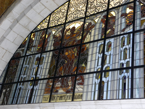 Church of the Flagellation, the window on the right side of the altar, showing the convict Barabbas being released instead of Jesus, according to the demands of the crowd