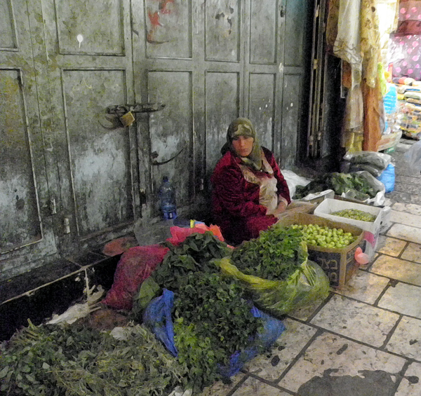 vegetable vendor on the Via Dolorosa