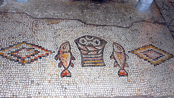loaves and fishes mosaic at Tabgha
