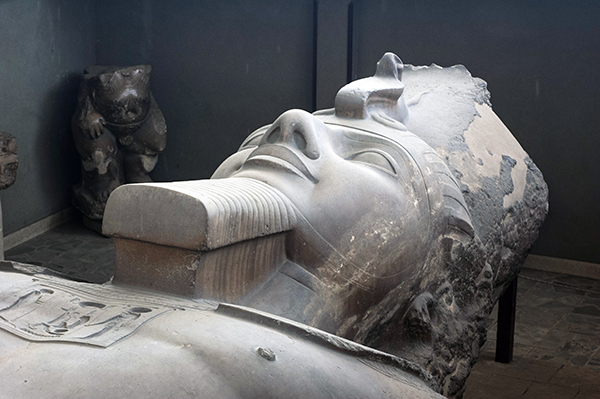 the colossal recumbent Ramesses II statue at Memphis, Egypt