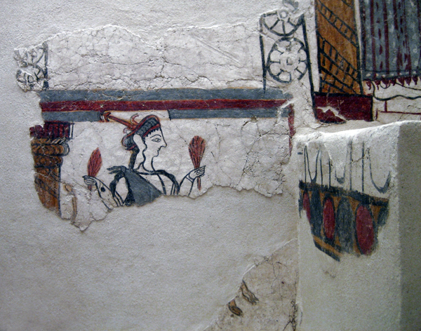 fresco in the archaeological museum at Mycenae, Greece
