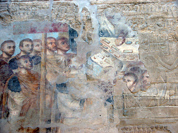 remnants of a Christian fresco, Luxor Temple, Egypt