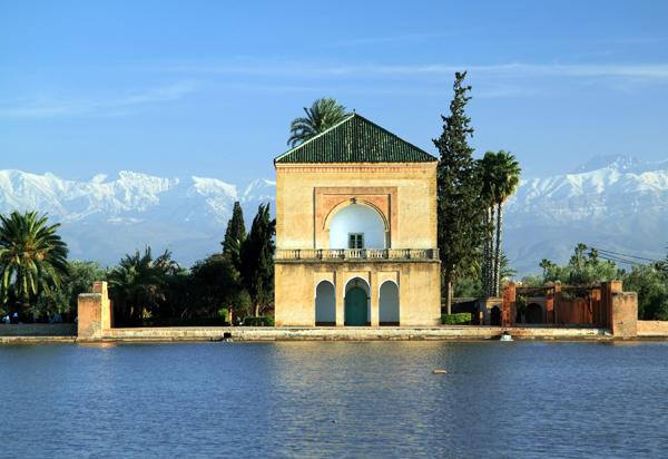 High Atlas Mountain range seen from Menara Gardens in Marrakech