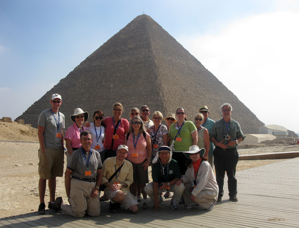 a Ya'lla group in front of the Pyramid of Khufu, the Great Pyramid