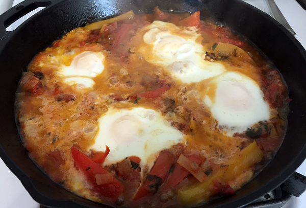 Here's my attempt at Ottolenghi's Shakshuka recipe. It's not as pretty as his but tasted divine.