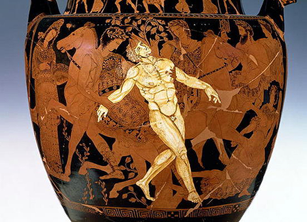 This 5th-century BCE Greek vase depicts the death of Talos at the hands of Medea and the Argonauts. The artist is known only as the Talos Painter.