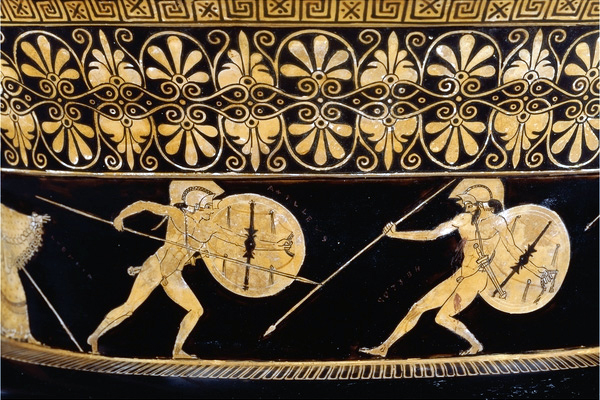 Greek vase painting of the battle of Hector and Achilles