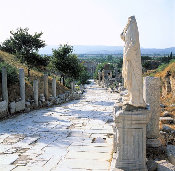 Curetes Way, a main boulevard of Ephesus, leading from the Temple of Hadrian to the Library of Celsus.