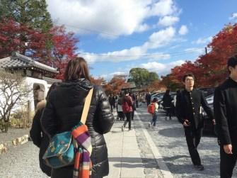 已經是中午了,不少人在前往天龍寺的路上,人變多了。可是天氣也變好了。