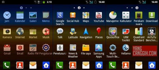 Samsung galaxy y main menu