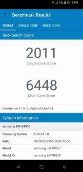 Galaxy S8+ Geekbench