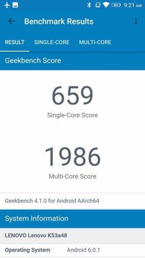 Lenovo K6 Note Geekbench