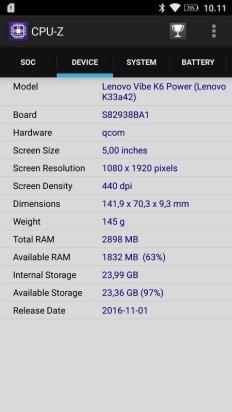 Lenovo K6 Power CPU Z (2)
