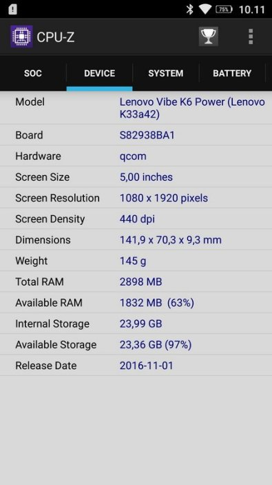 Lenovo K6 Power CPU Z (2)