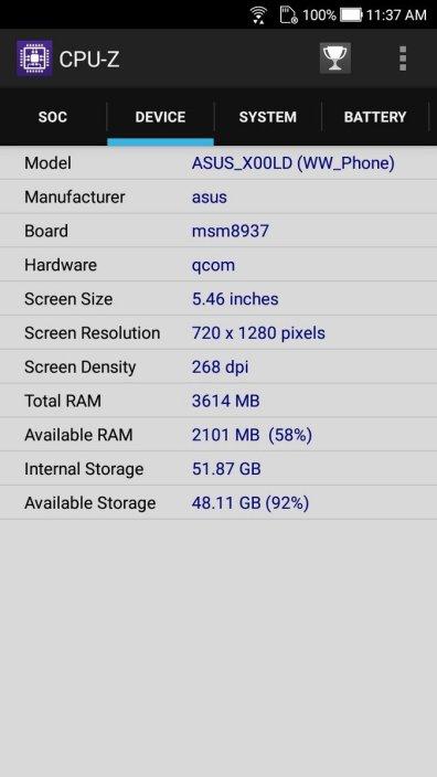 Asus ZenFone 4 Selfie CPU Z (3)