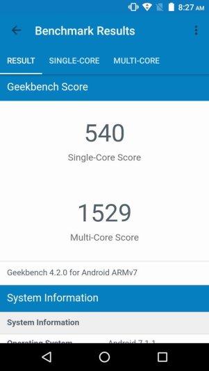 Moto E4 Plus Geekbench
