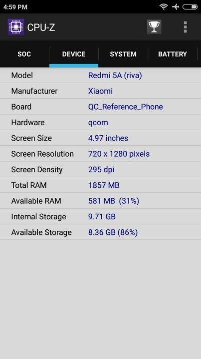 Xiaomi Redmi 5A CPU Z (1)