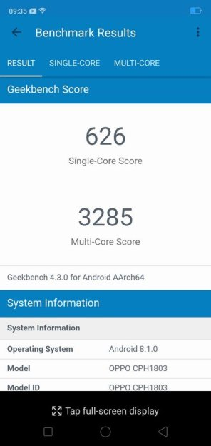 Oppo A3s Geekbench