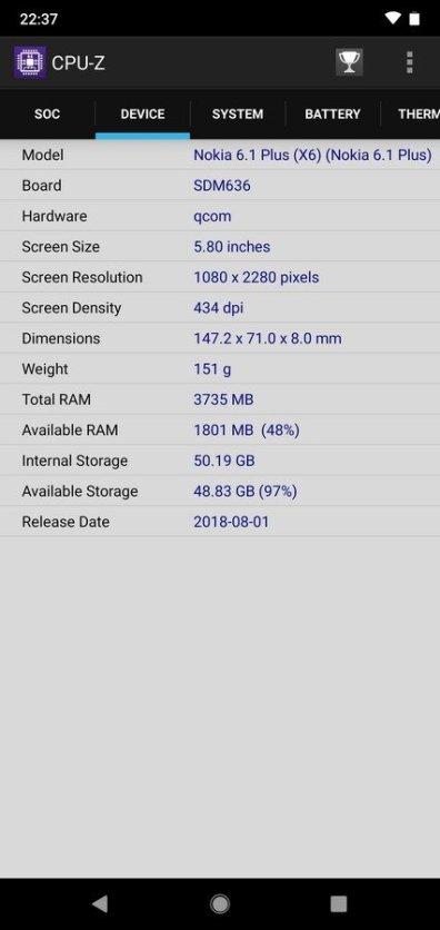 Nokia 6.1 Plus CPU Z (3)