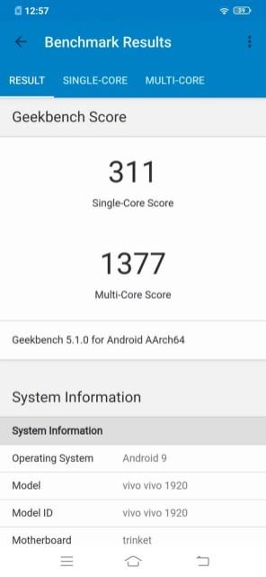 Vivo S1 Pro Geekbench 5