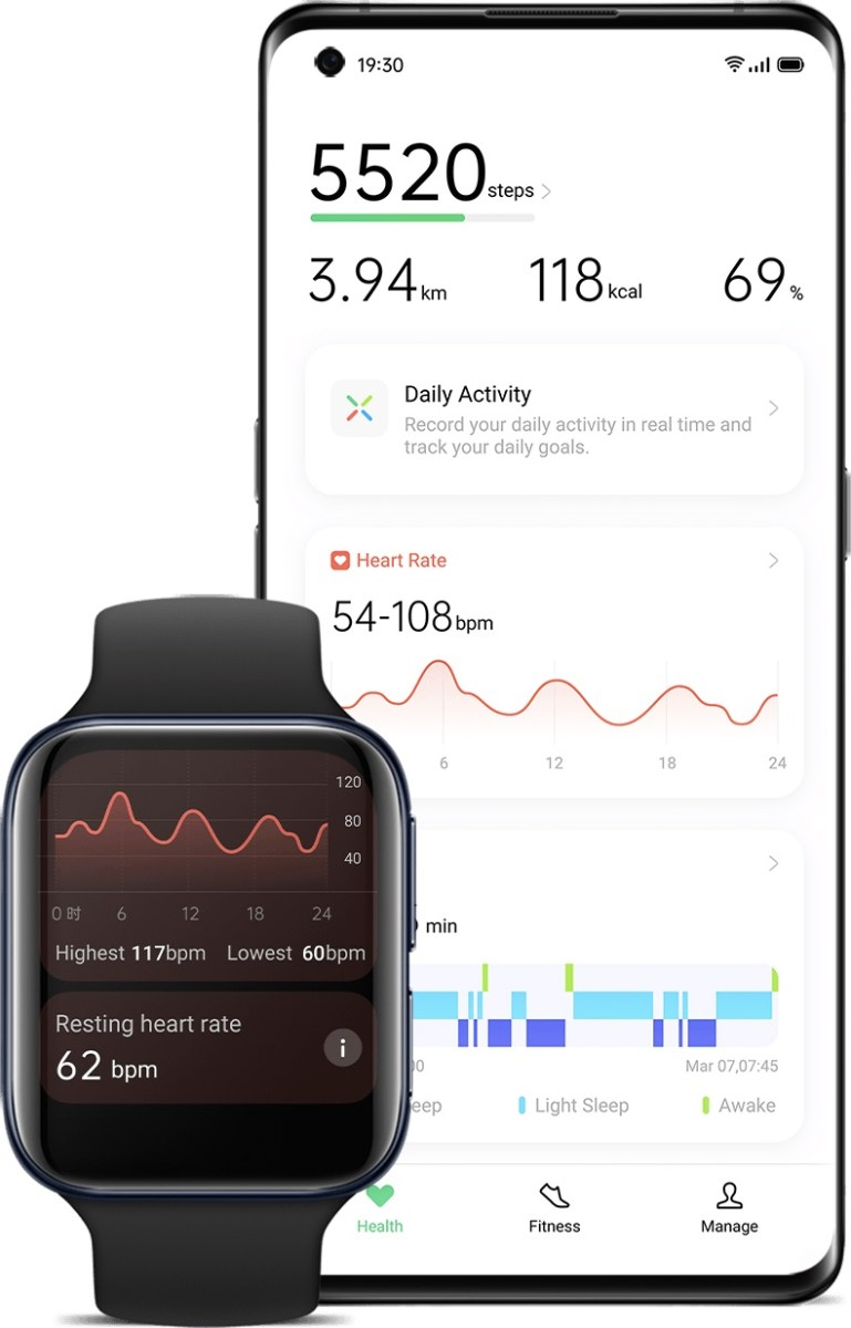 oppo watch health tap