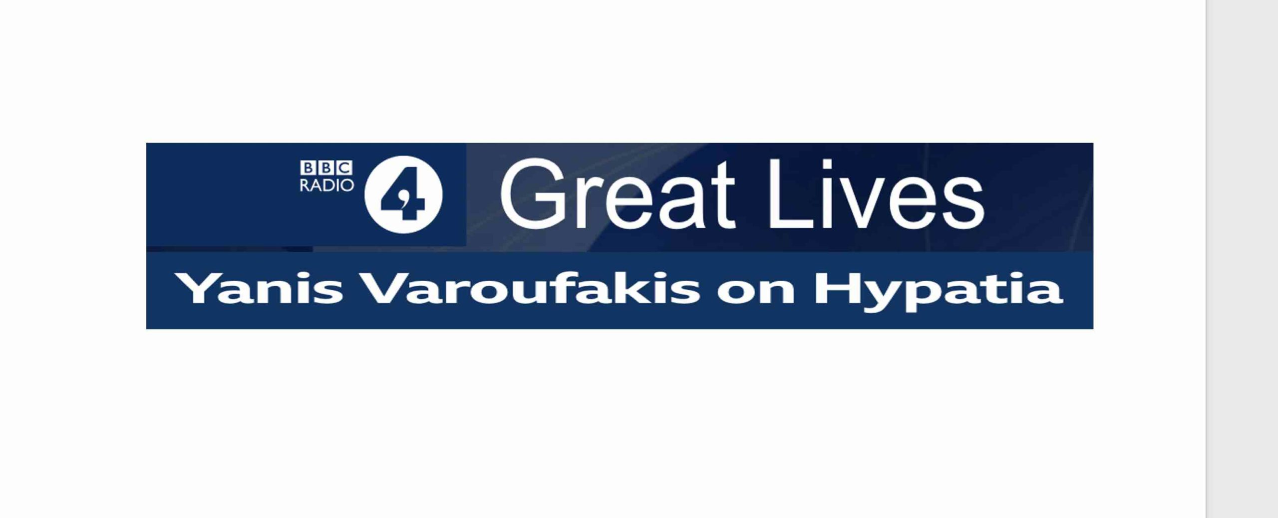 Hypatia: my choice of a great life to re-visit and celebrate – on BBC Radio 4's Great Lives