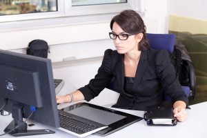 a lady working in an office