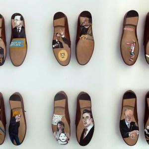 """""""Shoe venir"""". Óleo sobre zapatos talla 44. Presentado en SUMMA 2015"""