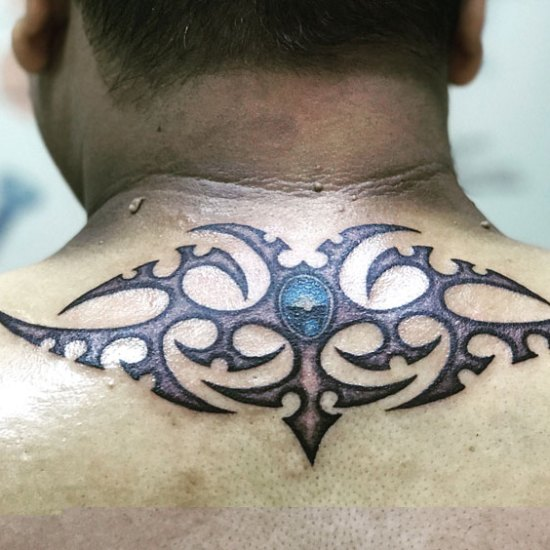 back neck tribal tattoo yantra chennai blue