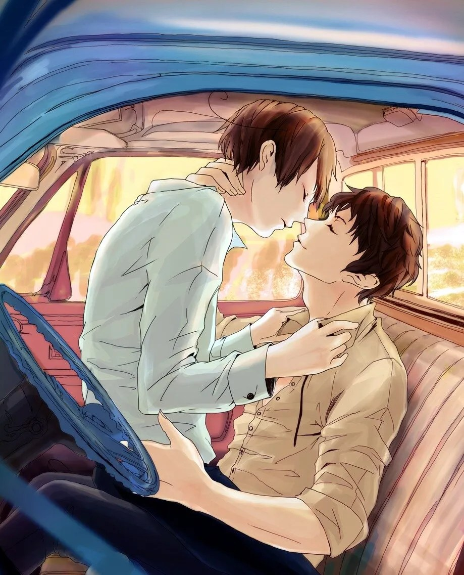 Yaoi-in-a-car-two-boys-kissing-in-the-front-seat-of-a-car