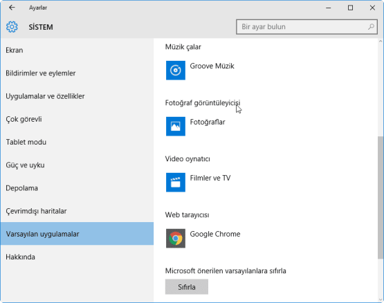 Windows 10 Varsayilan Programlar Nasil Degistirilir 07
