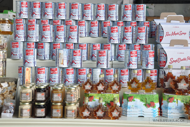 Etalage de produits au sirop d'érable