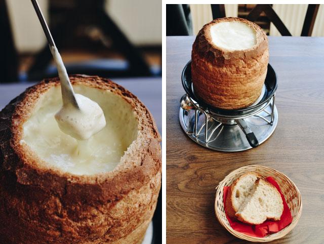 Une fondue... dans un pain à la place du caquelon!