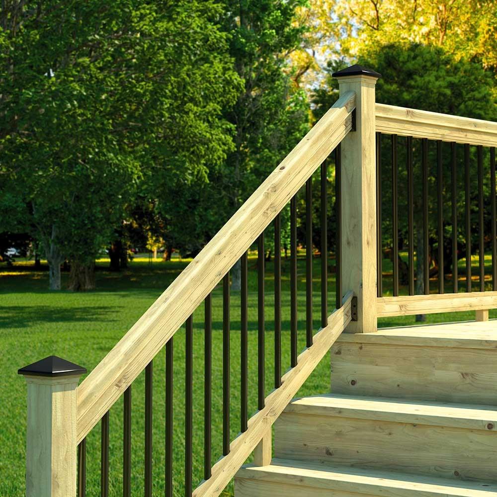 Pressure Treated Wood Outdoor Stair Railing Kit Yard Home   New Railings For Outdoor Stairs   Railing Kits   Metal   Aluminum   Railing Ideas   Wood