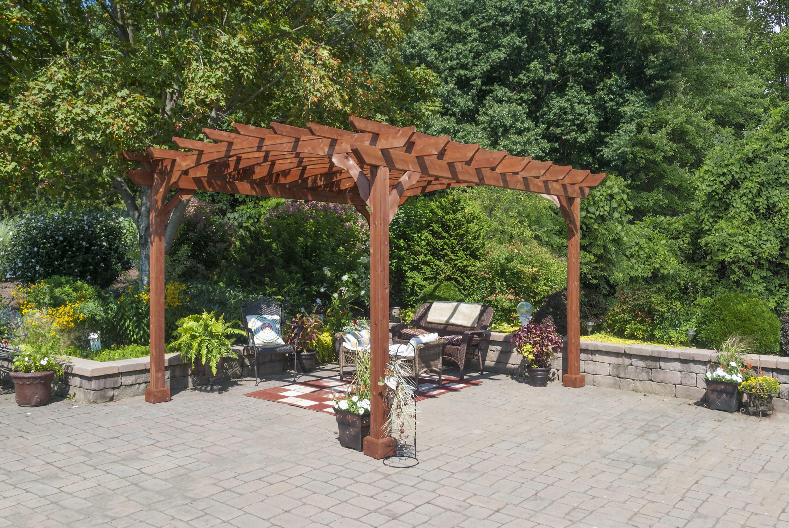 10x12 wood pergola kit canyon brown