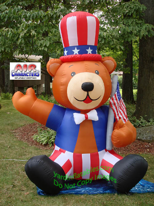 Inflatable PATRIOTIC Uncle Sam Bear With Hat And Flag