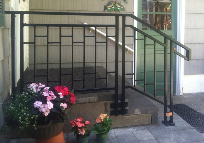 Yardly Art Custom Ironwork Commissions Installations | Craftsman Style Exterior Stair Railings | Step | Black Iron | Fence | Craftsman House | Outdoor