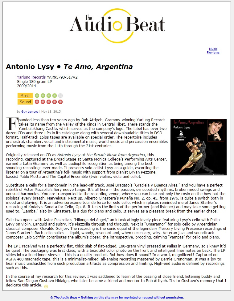 Audio Beat Review of Antonio Lysy Yarlung Records
